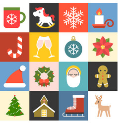 Christmas icons set 2 flat design vector