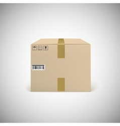 Closed cardboard box taped up vector