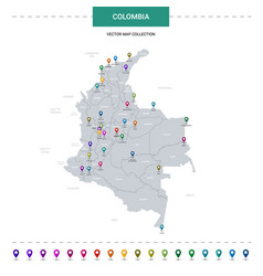Colombia map with location pointer marks vector