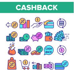 Color cashback service sign icons set vector
