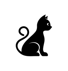 cute black cat icon vector image