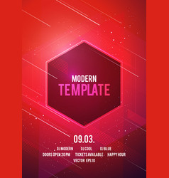 dance party poster with geometric shapes in red vector image