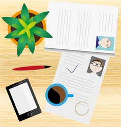 Desk CV smartphone coffee HR recruit agency vector