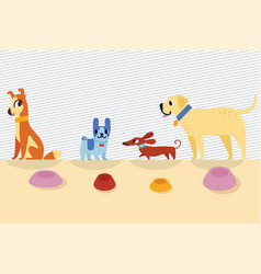 different cartoon dogs with bowls vector image