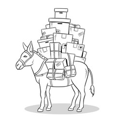 donkey loaded parcels coloring vector image