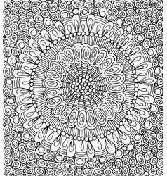 doodle mandala with circle pattern background vector image