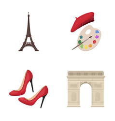 Eiffel tower brush hat france country set vector