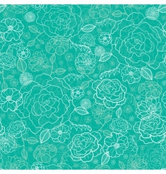 Emerald green floral lineart seamless pattern vector