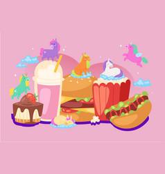 fabulous unicorns fast food recipe composition vector image