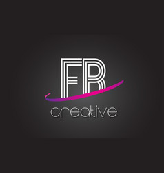 Fb f b letter logo with lines design and purple vector
