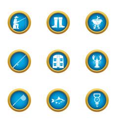 fishing trade icons set flat style vector image