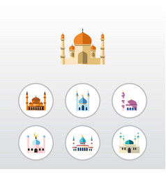 Flat icon minaret set of building islam vector