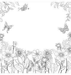 Flower background contours vector image vector image