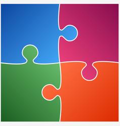 Four color piece puzzle vector