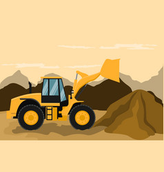 Frontal loader doing construction and mining work vector
