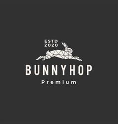 geometric rabbit bunny hop hipster vintage logo vector image
