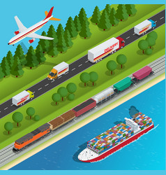 global logistics network flat isometric vector image