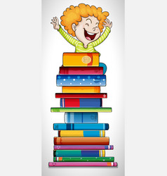 Happy boy standing on stack of books vector