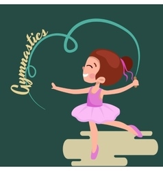 Happy girl gymnast with blue ribbon kids sport vector