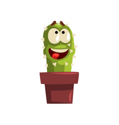 Happy smiling cactus character in a clay pot vector