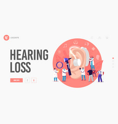Hearing loss deafness landing page template deaf vector