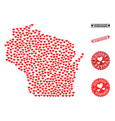Heart collage map of wisconsin state and grunge vector