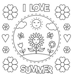 I love summer coloring page black and white vector