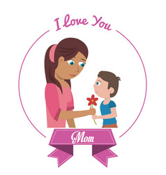 I love you mom card son giving flower vector