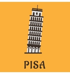 Icon of Pisa Tower in flat style vector
