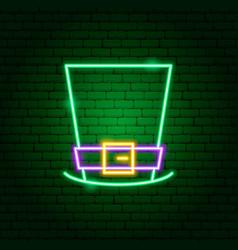 irishman hat neon sign vector image