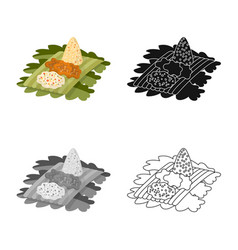 Isolated object rice and dish sign set rice vector