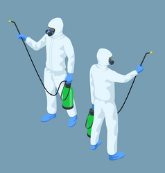 Isometric man in a white suit disinfects vector