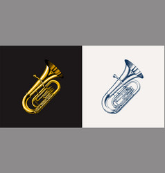jazz tuba in monochrome engraved vintage style vector image
