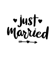 just married lettering greeting card vector image