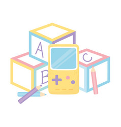 Kids zone alphabet blocks video game and pencils vector