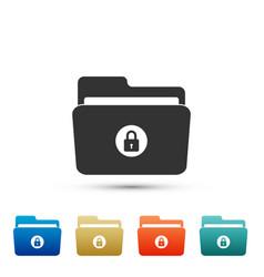locked folder icon isolated on white background vector image