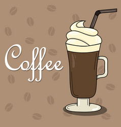 lovely card with coffee and whipped cream vector image