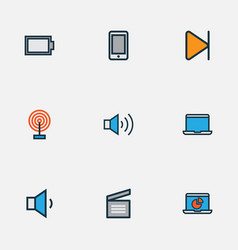 media icons colored line set with broadcast vector image