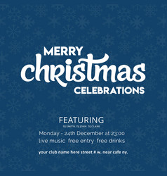 merry christmas celebration snowflake background vector image