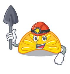 Miner orange jelly candy mascot cartoon vector