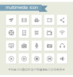 Multimedia icon set Simple flat buttons vector