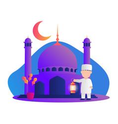 muslim kids holding lantern ramadan kareem vector image