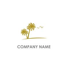 palm tree ocean seagull logo vector image
