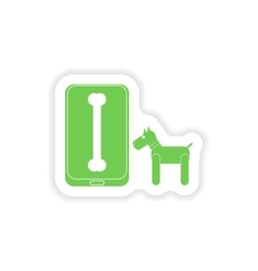 Paper sticker on white background mobile phone dog vector