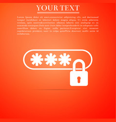 password protection icon on orange background vector image