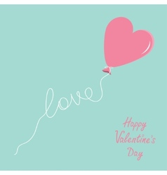 Pink balloon in shape of heart with love thread vector image