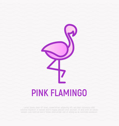 pink flamingo thin line icon vector image