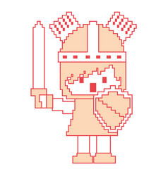 pixel character knight with sword and shield for vector image