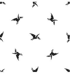 Pterosaurs dinosaur pattern seamless black vector