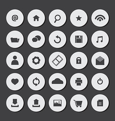 Round Flat Website Icons Set vector